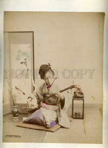 231199 JAPAN Geisha musician Vintage CABINET two tinted PHOTOS