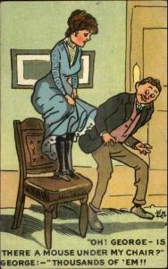 Scared Woman on Chair OH GEORGE IS THERE A MOUSE? c1910 Postcard