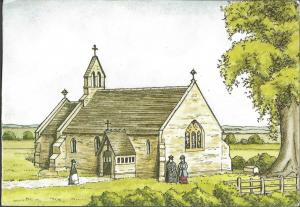 Postcard WYRE PIDDLE Church Worcestershire Art Etching