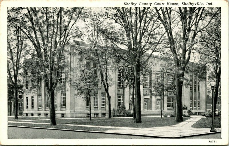 Vtg Curteich Postcard Shelbyville Indiana IN - Shelby County Court House UNP
