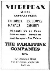 1934 Vintage Advert, The Paraffine Companies Inc, San Francisco USA, Vitrefrax