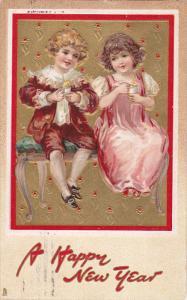 TUCK #139; NEW YEAR; Boy sitting with girl eating dessert, PU-1908