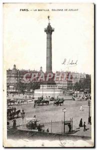 Paris Old Postcard Place de la Bastille July Column