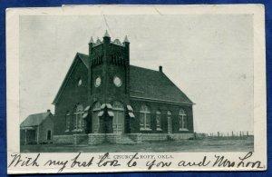 Roff Oklahoma ok M E Church old postcard