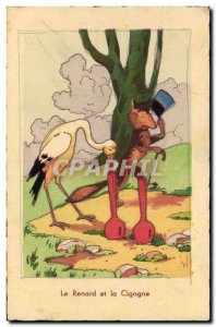 Old Postcard Fantasy Illustrator The fox and the stork