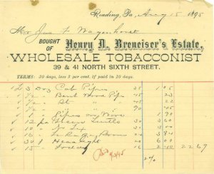 READING PA - HENRY BRENEISER Estate - WHOLESALE TOBACCONIST /  INVOICE / 1895