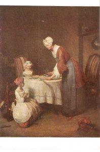 J.B.P. Chardin.  Grace before meatFine art, painting, vintage French postcard