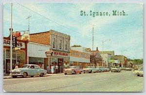 St Ignace MI~State Street~Ben Franklin~LaRocque Rexall~Zenith Radio~1950s Cars