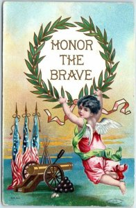 1909 DECORATION DAY / Memorial Day Postcard HONOR THE BRAVE Angel / Cannon