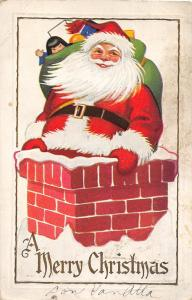 F24/ Santa Claus Merry Christmas Postcard c1931 Chimney Smile 14