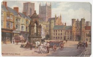 Somerset; Market Place, Wells PPC By Frith, Unposted, Artist : AR Quinton