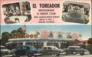 Miami FL El Toreador Night Club GREAT LINEN ROADSIDE Postcard