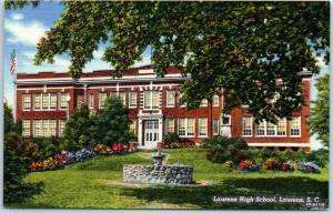 Laurens, South Carolina Postcard LAURENS HIGH SCHOOL Building View Linen 1950s
