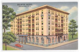Selwyn Hotel Charlotte NC North Carolina Curteich Linen Scarce View Postcard