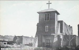 New Mexico Santa Fe San Miguel Church In 1890