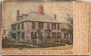 RARE - Old Wright Tavern Concord Ma Antique Postcard Massachusetts 1905