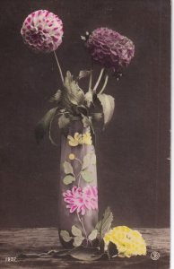 RP; STILL LIFE, 1900-10s; Painted Vase with Chrysanthemums