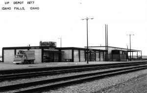 Idaho Falls Idaho UP Railroad Depot Real Photo Vintage Postcard K98197