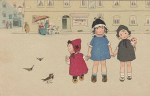 Three Dutch girls wearing bonnets standing in the middle of town, Birds, PU-1924