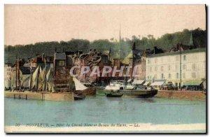 Postcard Old Honfleur Hotel du Cheval Blanc and Boat Harbor