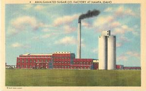 Amalgamated Sugar Factory at Nampa Idaho ID Linen Postcard