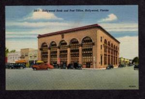FL Hollywood Bank Post Office FLORIDA Linen Postcard