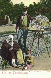 turkey, CONSTANTINOPLE, Simit Seller, Vendeurs de Simits (1899) Postcard