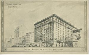 Hotel Statler ~Cleveland OH Ohio ~ Euclid Avenue at East Twelfth St.  Postcard