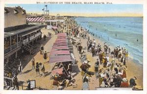 MIAMI BEACH FLORIDA~BATHERS ON THE BEACH~CABANAS POSTCARD 1920s