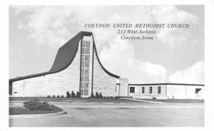 Corydon Iowa~United Methodist Church~West Jackson~1960s B&W Postcard