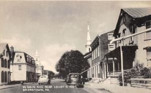 Myerstown Pennsylvania~West Main Avenue by Locust Street~Houses~Churche~50s Cars