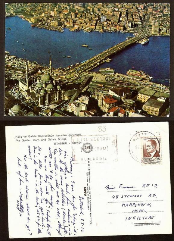 TURKEY VINTAGE POSTCARD/STAMP GOLDEN HORN-GALATA BRIDGE