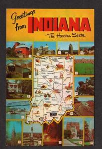 IN Greetings from INDIANA State Map Notre Dame Univ PC