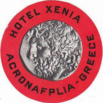 GREECE ACRONAFPLIA HOTEL XENIA VINTAGE LUGGAGE LABEL