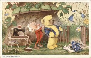 Fantasy Elf Gnome Tailor Fitting Teddy Bear For Suit c1920 Postcard jrf