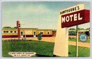 Galesburg Illinois~Hawthorne's Motel~Sign Close Up~1950 Linen Postcard