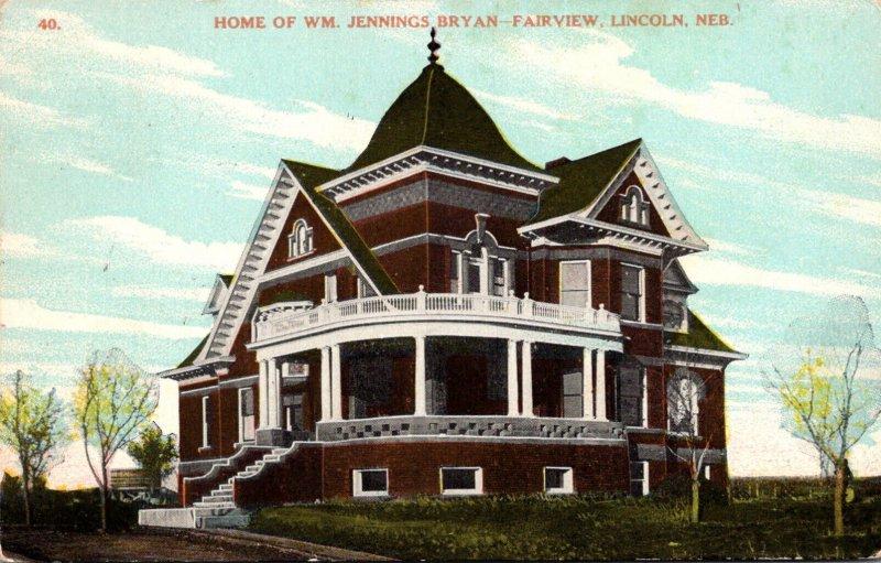 Nebraska Lincoln Fairview Home Of William Jennings Bryan 1910