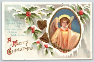 Clapsaddle Christmas~Angel Girl in Snowy Frame~Holly Berry~Gold Bells~Embossed