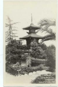 RPPC Japanese Pagoda in Japanese Gardens, Hollywood, California, CA, AZO RP