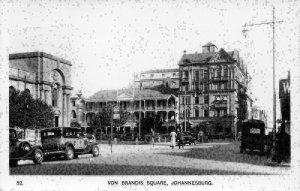 South Africa Von Brandis Square JOhannesburg Vintage Cars Postcard