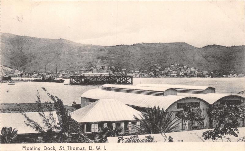ST THOMAS DANISH WEST INDIES~FLOATING DOCK~LIGHTBOURNS PHOTO POSTCARD 1910s