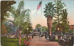 Central Square Los Angeles California 1915 Street Scene Park Scene Cobblestone