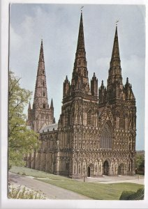 LICHFIELD CATHEDRAL, the West Front, UK, used Postcard