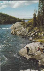 Fishing the Yellowknife Rapids , N.W.T. , Canada , 40-60s