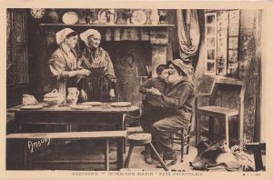 Bretagne Fisherman Returns Home Antique Postcard