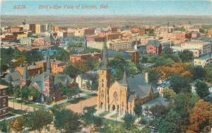 Lincoln Nebraska~Birds Eye View~Churches In Foreground~Acmegraph~1914 Postcard