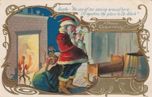 CHRISTMAS, 1909 ; Santa Claus Reads letter about stork