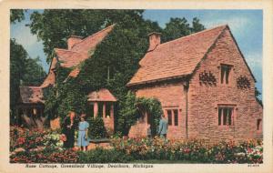 Postcard Rose Cottage Greenville Village Dearborn Michigan