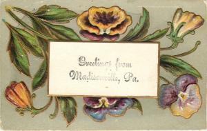 Madisonville Pennsylvania~Yellow Blue Purple Pansies~Gold Leaf Emboss~1910 Greet