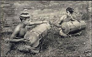 indonesia, BALI, Two Native Boys playing Drums 30s RPPC